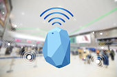 istock Beacon device home and office radar. Use for all situations. with network connect signal graphic and blur background at the airport 1022015050