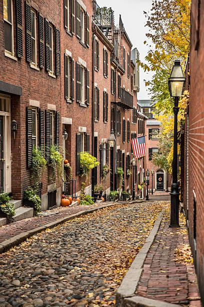 Beacon Hill Cobblestone Street stock photo
