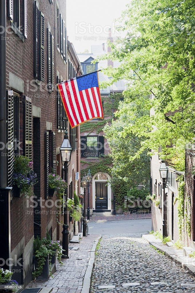 Beacon Hill Street in Boston USA stock photo