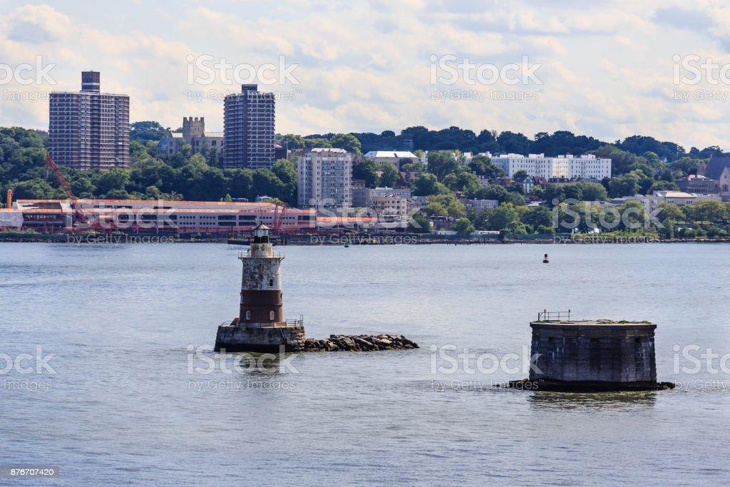 Beacon in New York Harbor stock photo