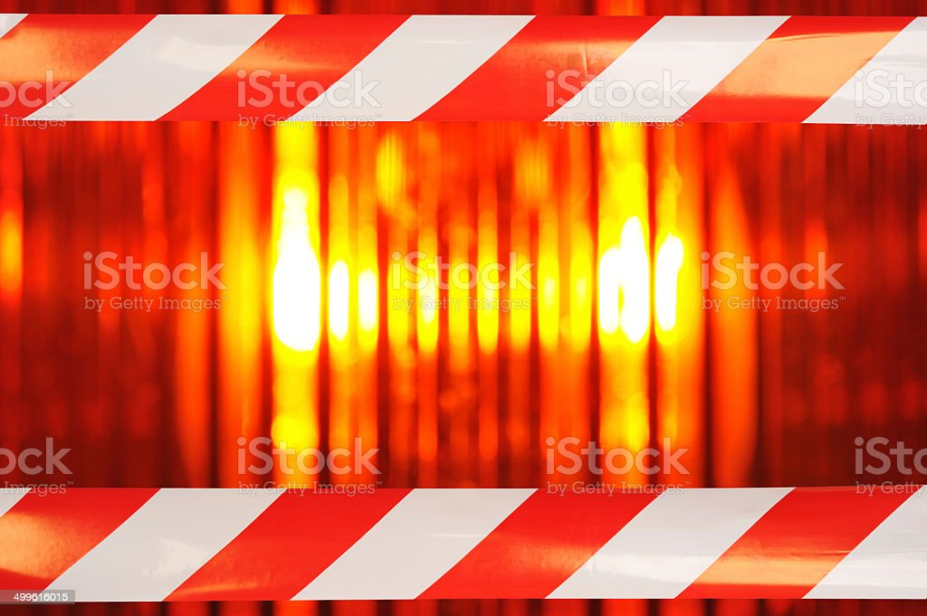 beacon light with barrier tape stock photo