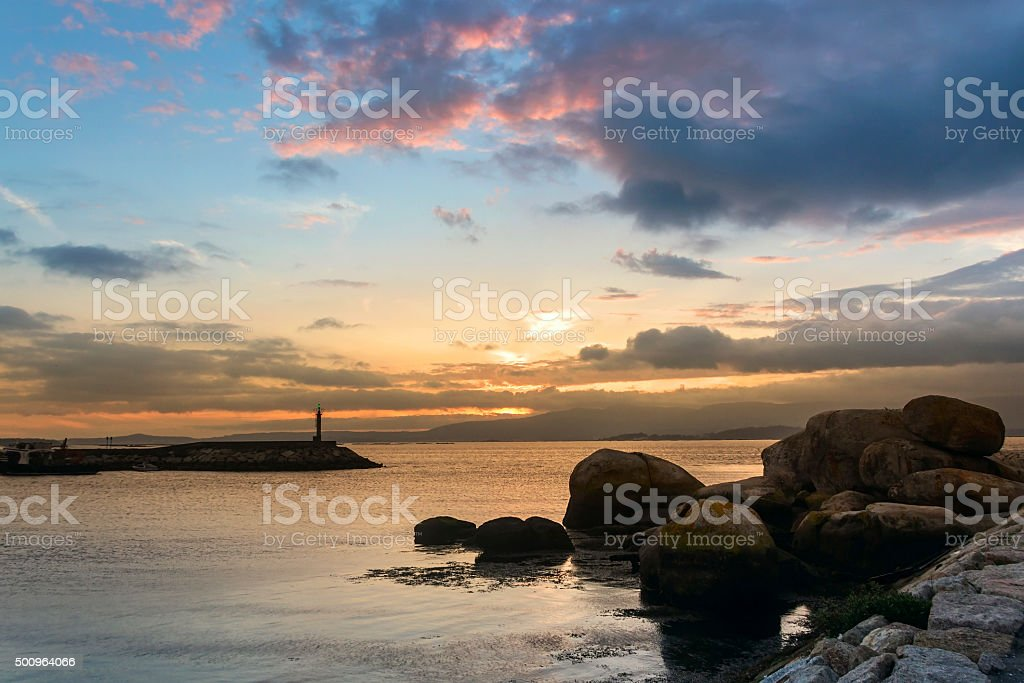 Beacon on the breakwater royalty-free stock photo