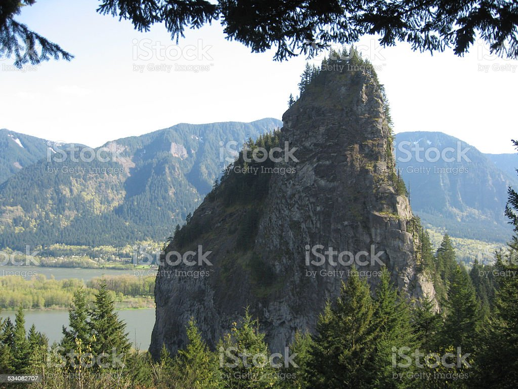 Beacon Rock Washington stock photo