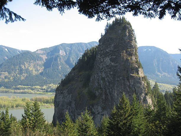 Beacon Rock Washington Looking at Beacon Rock from the Washington side of the Columbia River Gorge. beacon stock pictures, royalty-free photos & images