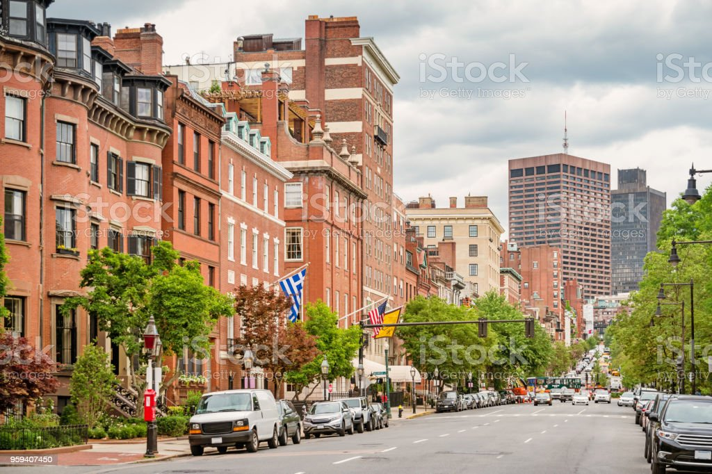 Beacon Street in downtown Boston Massachusetts USA stock photo