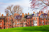 Beacon street view from Boston Common park in downtown, Massachusetts, USA