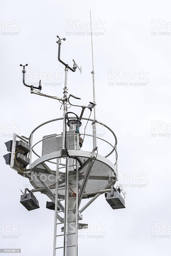 Beacon with Wind measuring Station stock photo