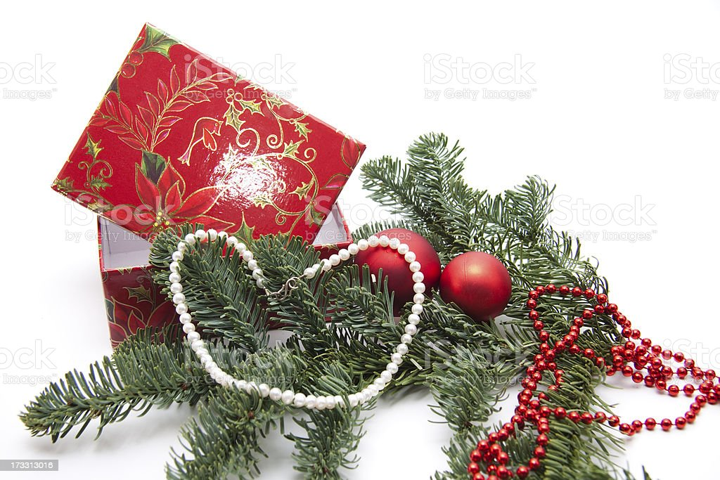 Bead chain on Christmas decoration royalty-free stock photo