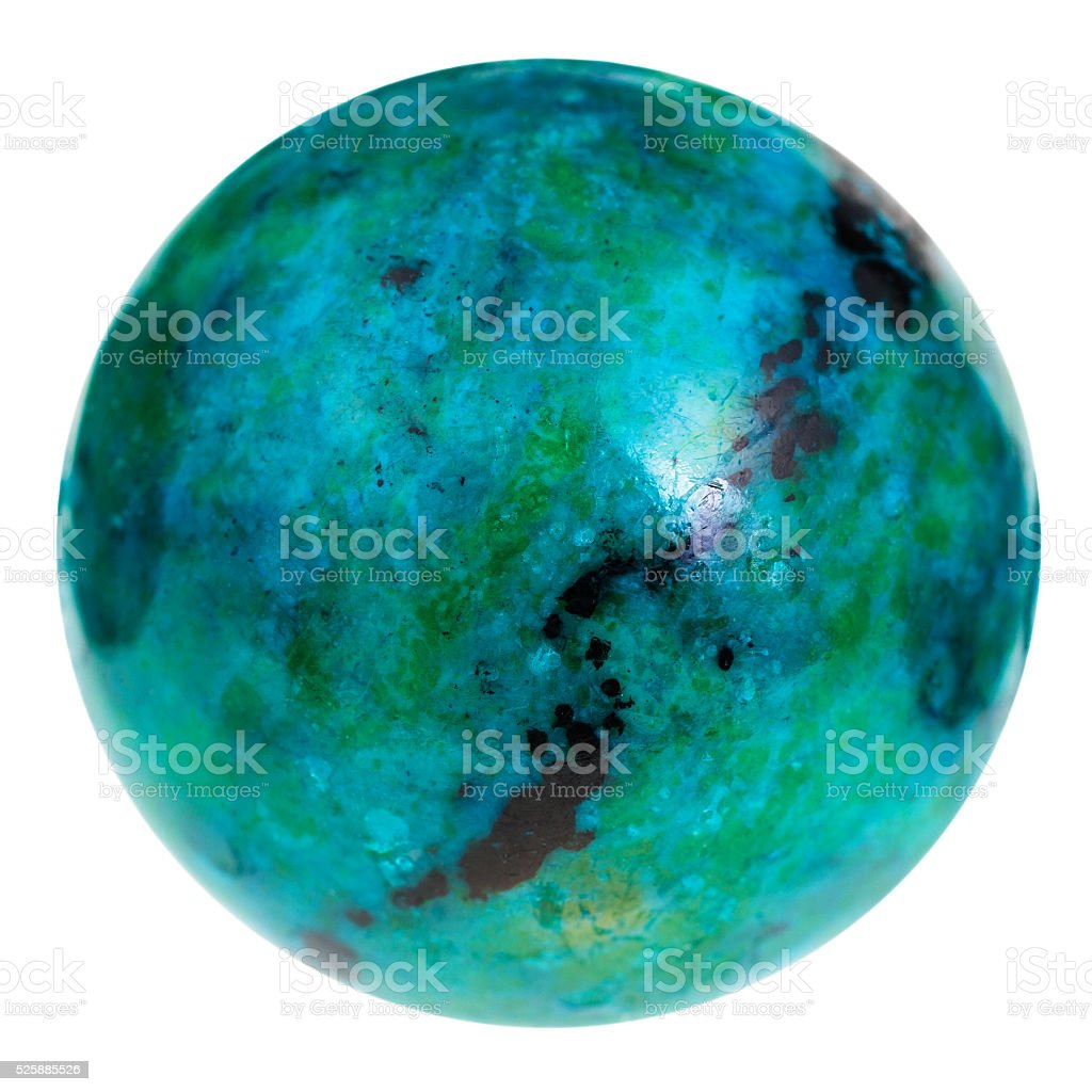 bead from green and blue chrysocolla gemstone stock photo