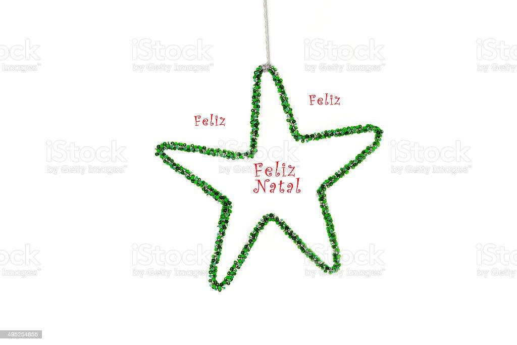 Stella Di Natale Con Perline.Stella Di Natale Con Perline Auguri Con Portoghese Sfondo Bianco