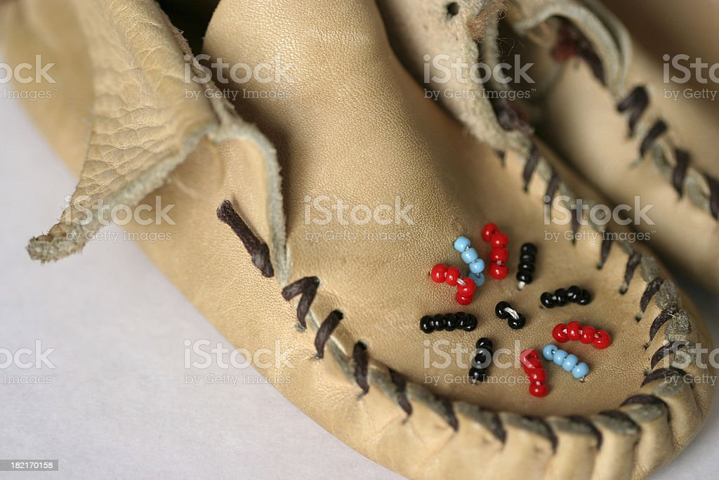 beaded leather moccasins stock photo