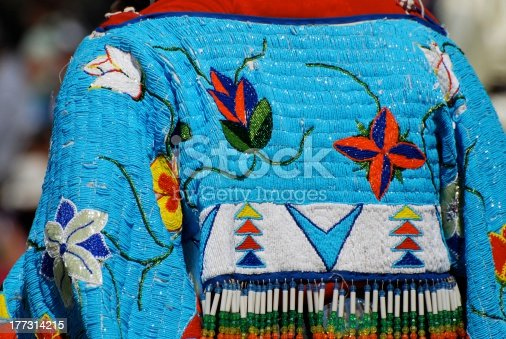 Beaded shawl of a Traditional Aboriginal Female Dancer at a powwow