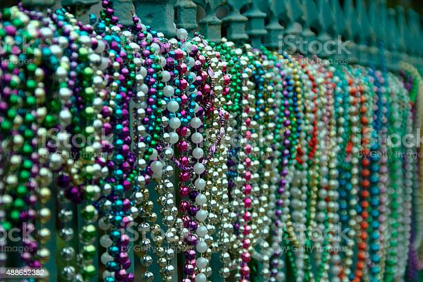 Beads aligned on fence in New Orleans