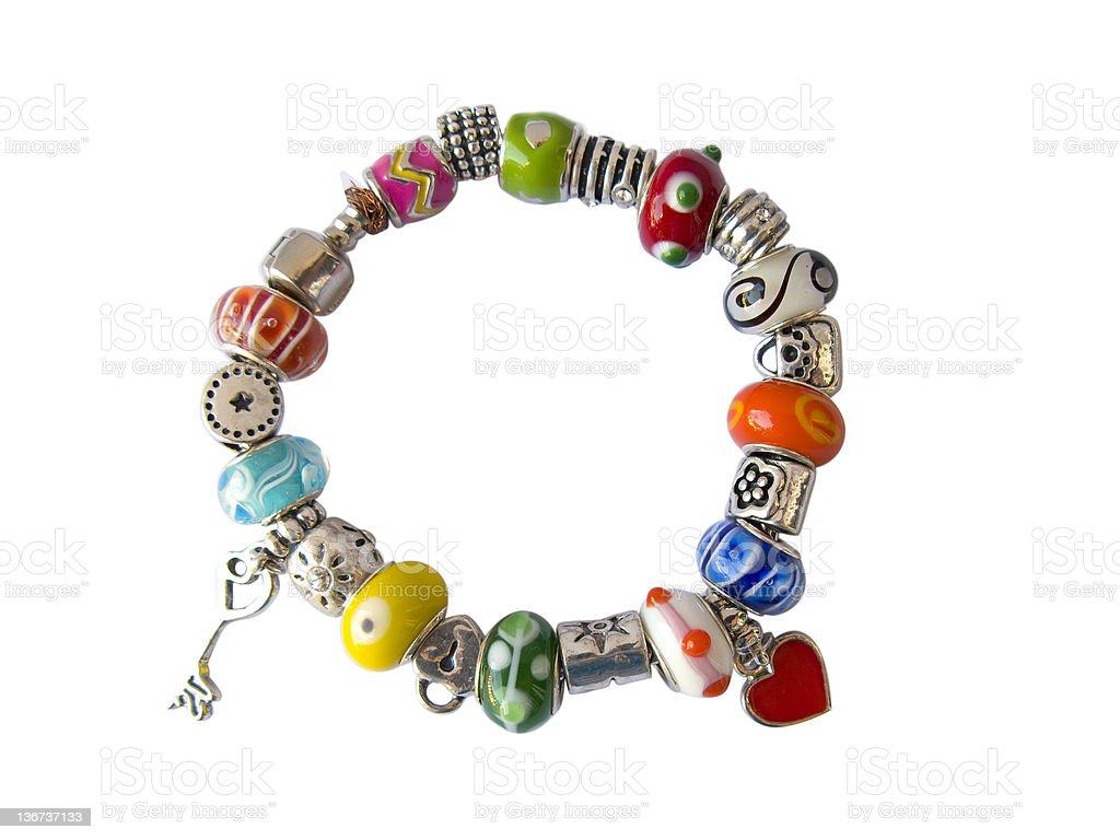 Beads and gems bracelet isolated in white royalty-free stock photo