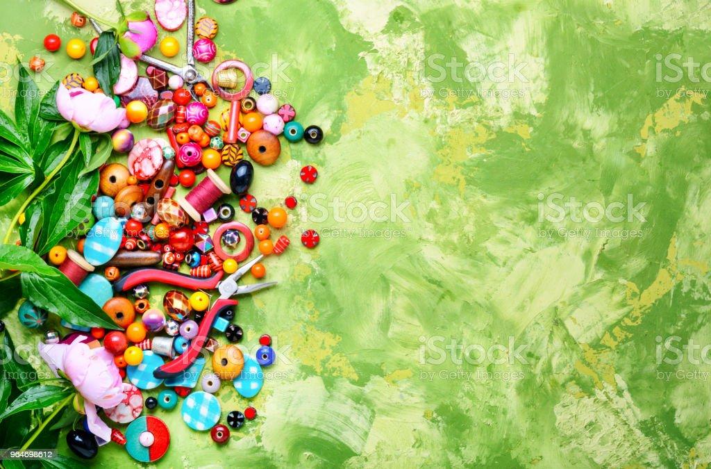 Beads and peony royalty-free stock photo