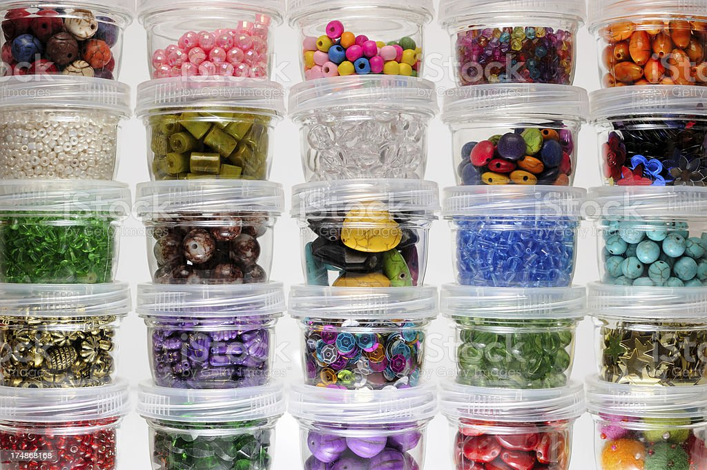 Beads in Jars Collection royalty-free stock photo