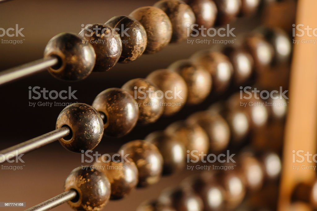 Beads on an abacus stock photo