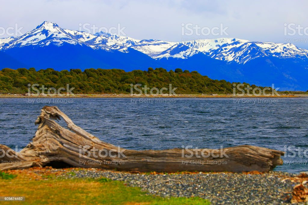 Beagle Channel - snowcapped Andes landscape, Ushuaia - Tierra Del fuego, Argentina stock photo