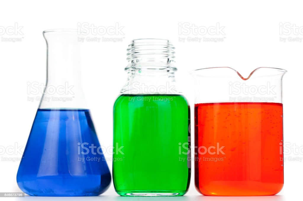 Beakers and an erlenmeyer stock photo