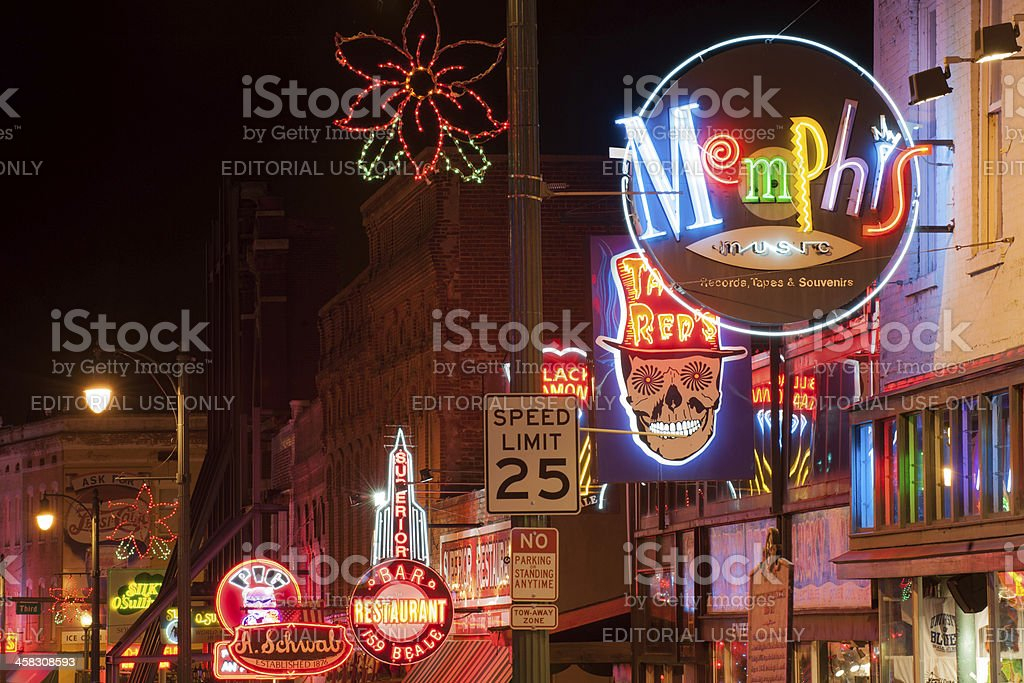 Beale street at night stock photo