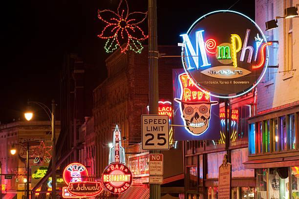 Beale street at night stock photo