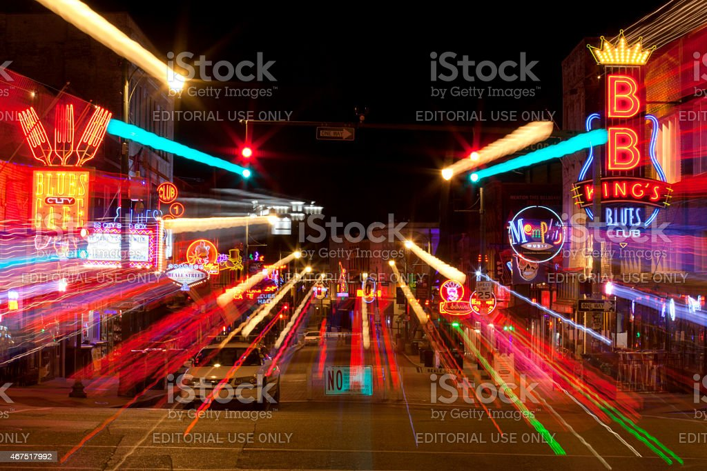 Beale Street in Downtown Memphis, (abstract) stock photo