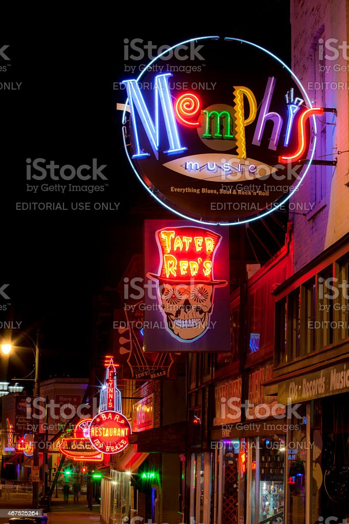 Beale Street in Downtown Memphis, Tennessee stock photo