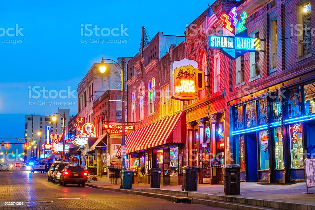 Beale Street Music District in Memphis Tennessee USA stock photo