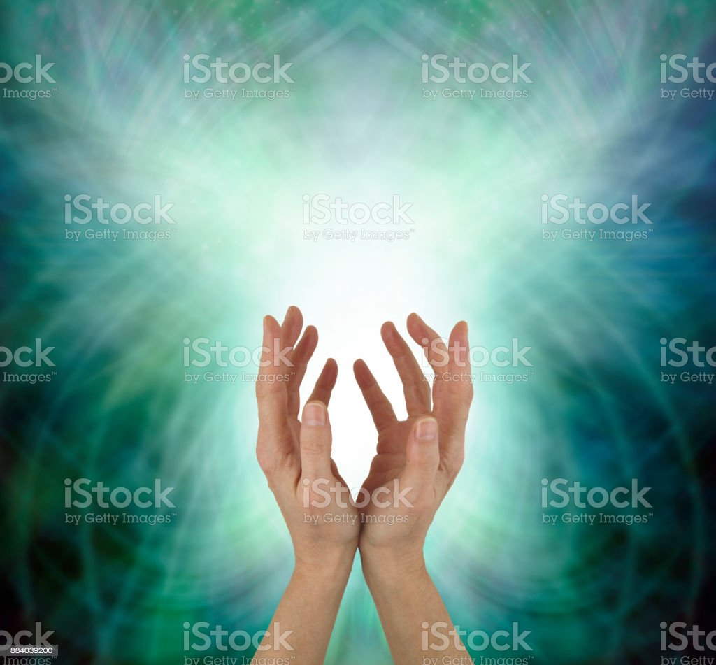 Beaming Beautiful Heart Chakra Healing Energy stock photo