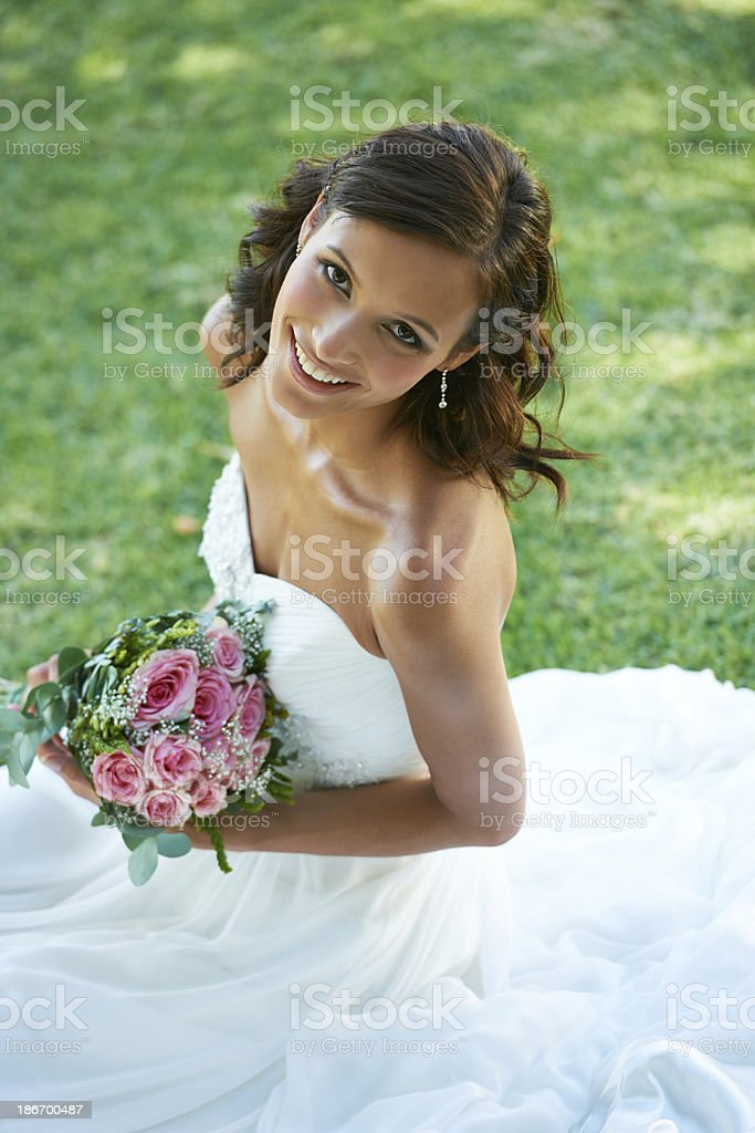 Beaming on her big day royalty-free stock photo
