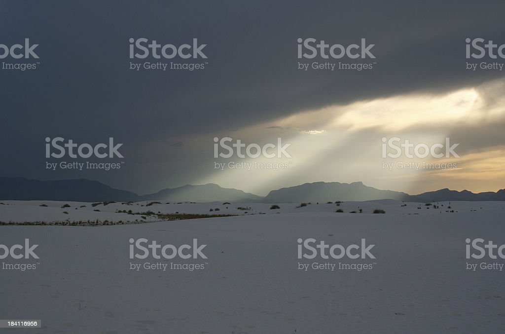 Beams of Light through Rain Clouds stock photo