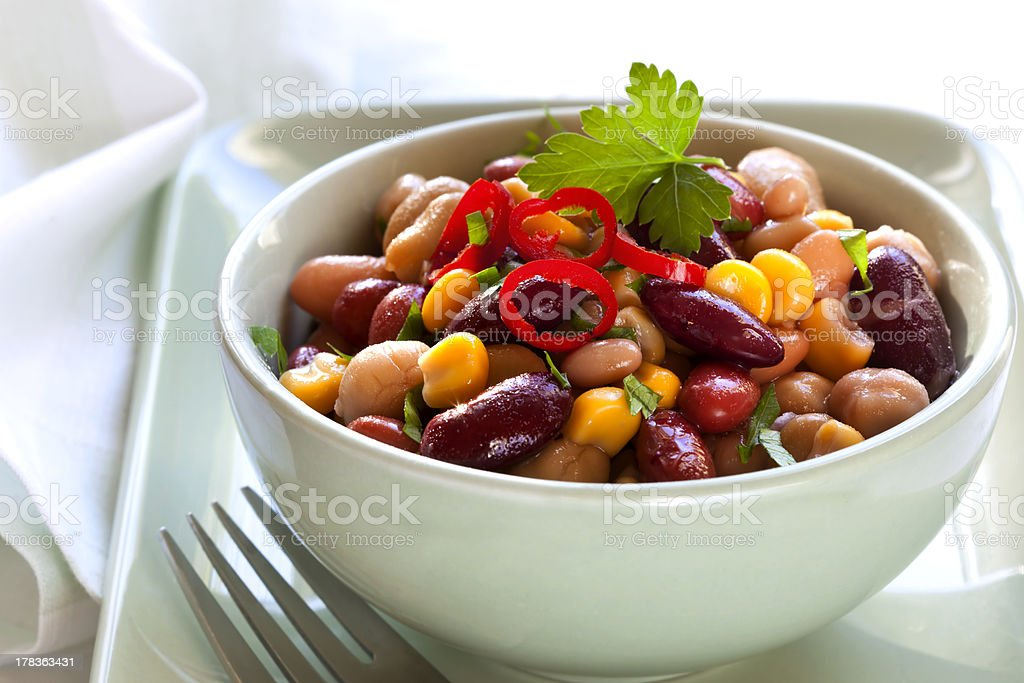 Bean and Corn Salad with Chili stock photo