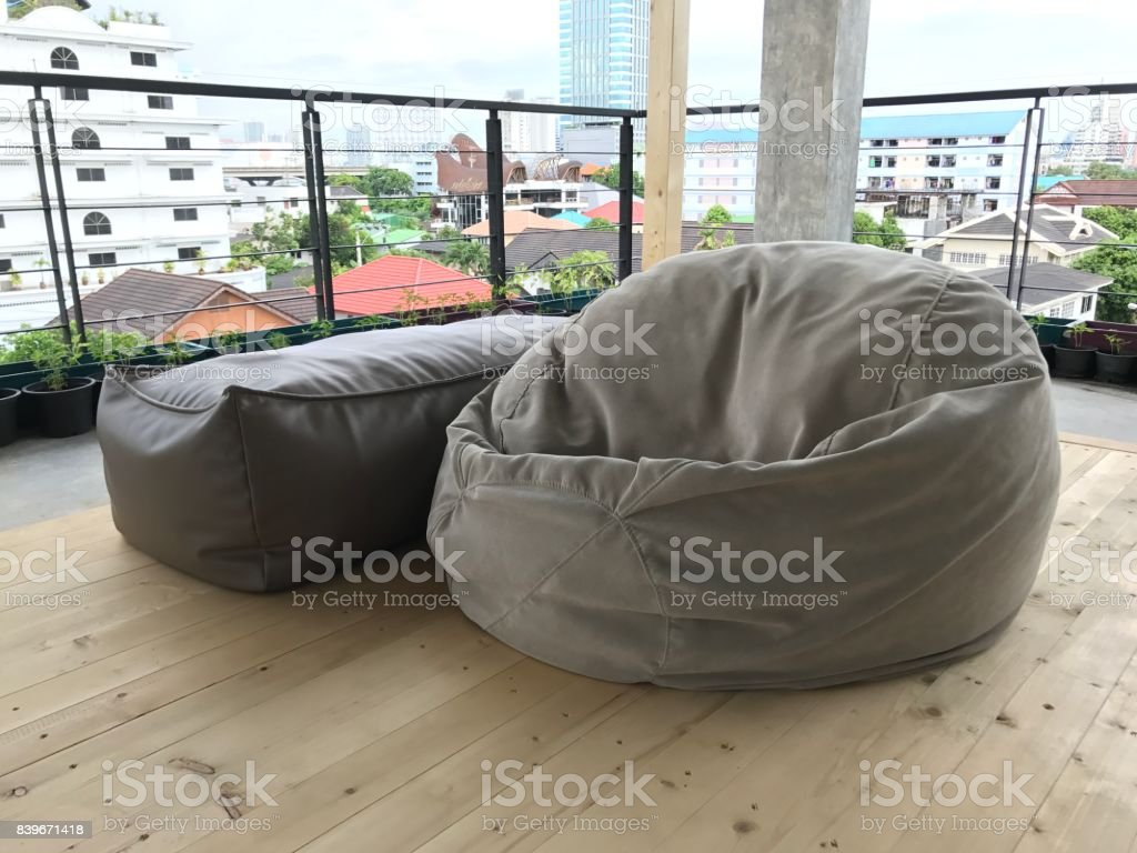 Bean bag on roof top garden stock photo