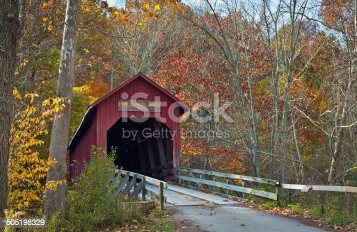 The functioning Bean Blossom Covered Bridge located in Indiana