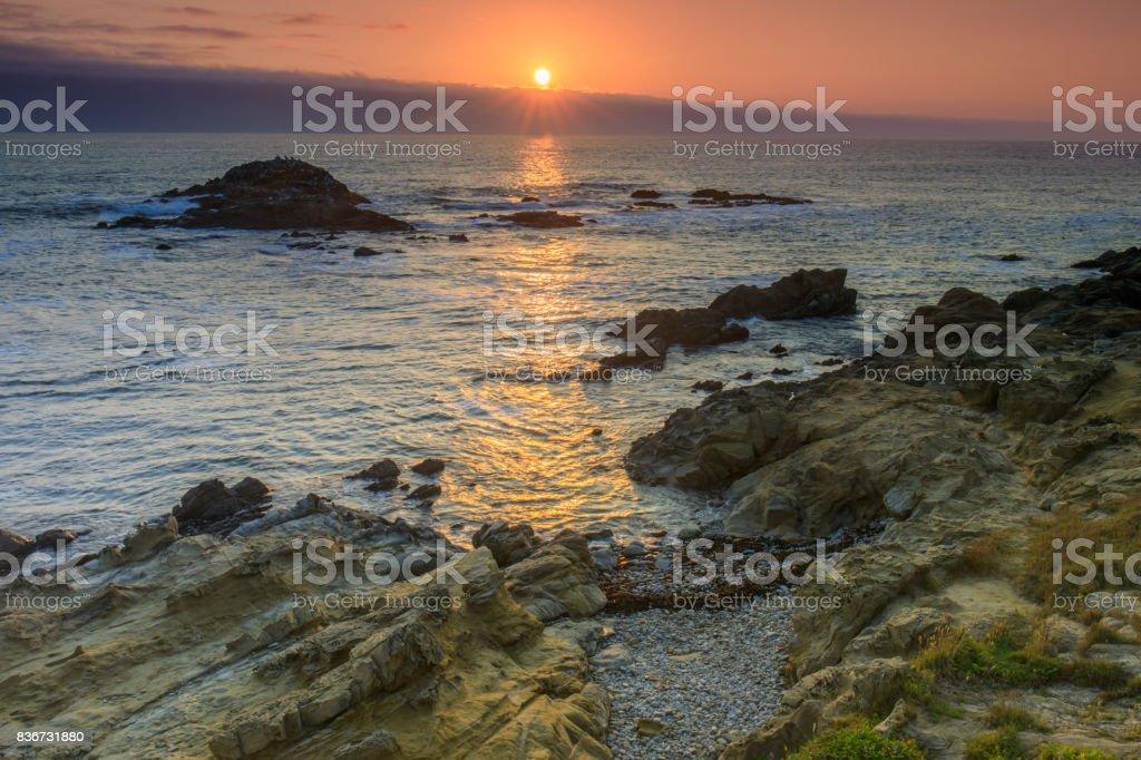 Bean Hollow State Beach Sunset. stock photo