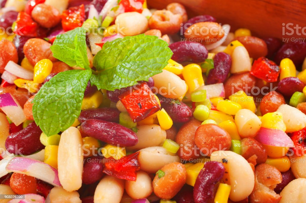 Bean Salad with Corn Close Up stock photo