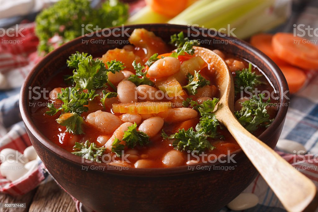 Bean soup and ingredients macro on the table. horizontal stock photo
