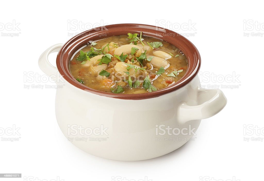 bean soup on white background with clipping path stock photo