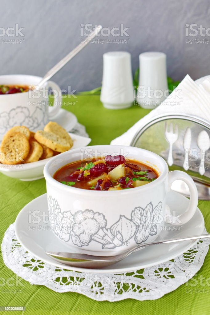 Bean soup. Rustic home cooking stock photo
