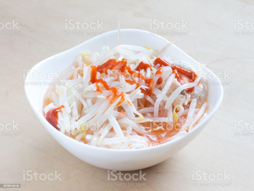 Bean sprouts shirataki noodle stock photo
