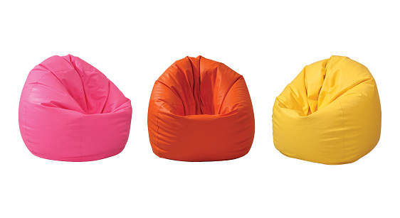 Colorful beanbag isolated on white background with clipping path.