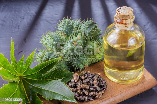 istock beans and castor oil on the black table 1060913300
