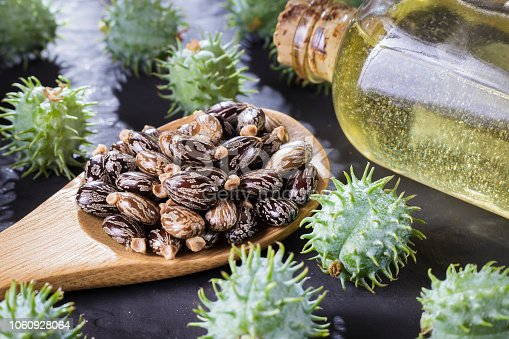 istock beans and castor oil on the black table 1060928064