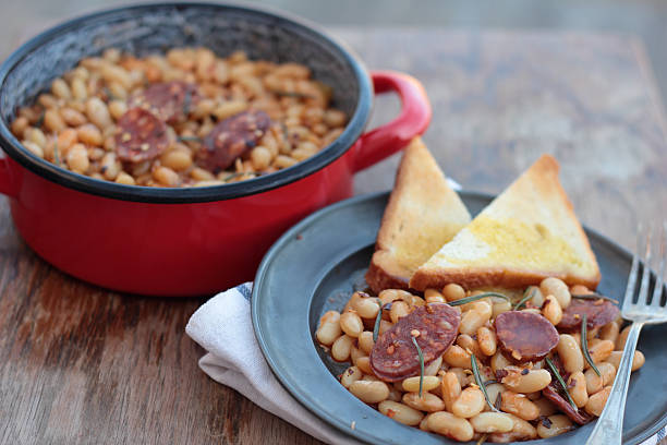 Beans and chorizo. stock photo