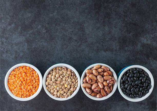 Frijoles y granos variedades - foto de stock