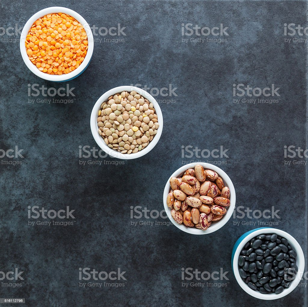 beans and grains varieties stock photo
