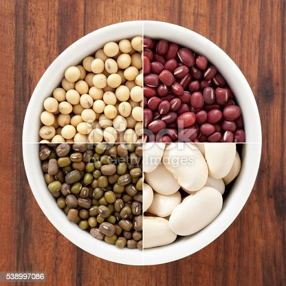 Composite of several shots of beans in white bowl for variation concept