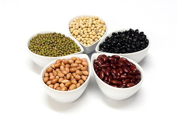 Beans in ceramic cup stock photo