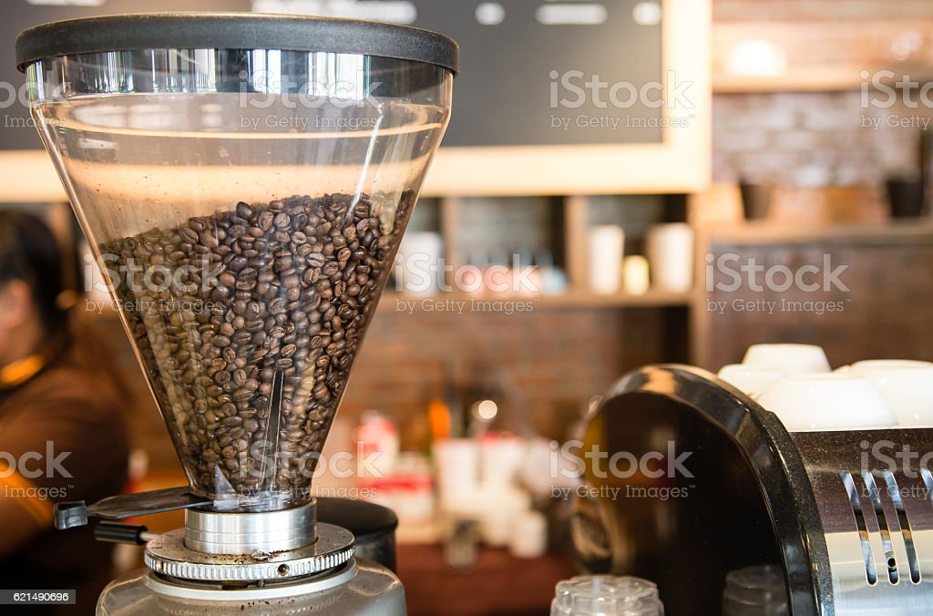 Beans in the grinder in coffee shop foto stock royalty-free