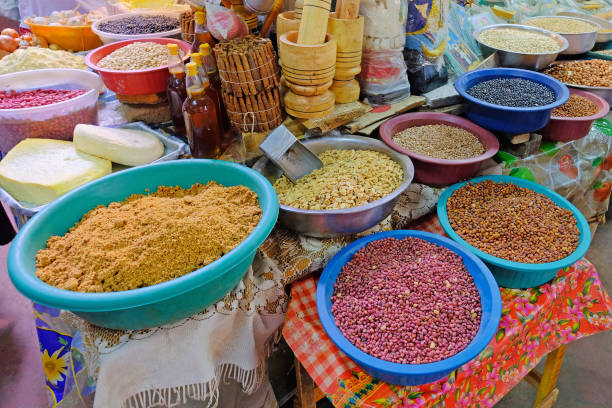 Beans, nuts, corn and seeds at a farmers market in Villarrica, Paraguay stock photo